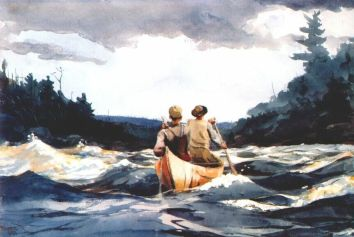 Winslow Homer canoe-in-the-rapids